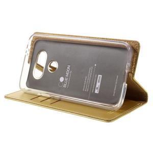 Luxury PU kožené puzdro pre mobil LG G5 - zlaté - 4