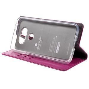 Luxury PU kožené pouzdro na mobil LG G5 - rose - 4