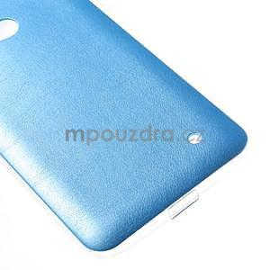 Gélový kryt s imitáciou kože pre Microsoft Lumia 640 - modrý - 4