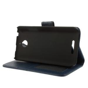 Folio PU kožené puzdro pre mobil HTC Desire 510 - tmavomodré - 4