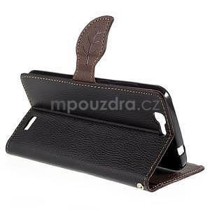 Čierne peňaženkové puzdro na Huawei Ascend G7 - 4