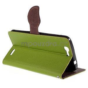 Zelené peňaženkové puzdro na Huawei Ascend G7 - 4
