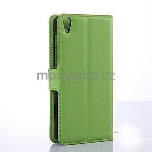Stylové peňaženkové puzdro na Lenovo S850 - zelené - 4