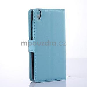 Štýlové peňaženkové puzdro pre Lenovo S850 - modré - 4