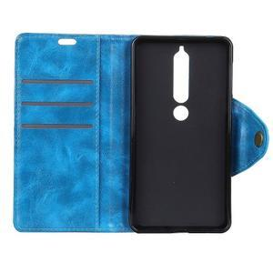 Retro PU kožené puzdro na Nokia 6.1 - modré - 4
