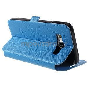 Klopové kožené puzdro na Samsung Galaxy A3 - modré - 4