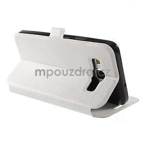 Klopové kožené puzdro na Samsung Galaxy A3 - biele - 4