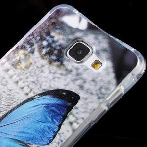 Tvarovaný gelový obal na Samsung Galaxy A5 (2016) - modrý motýl - 4