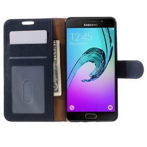 Cloth peněženkové pouzdro na Samsung Galaxy A5 (2016) - tmavěmodré - 4
