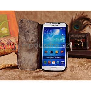 Peněženkové pouzdro z pravé kůže na Samsung Galaxy S4 - hnědá I - 4
