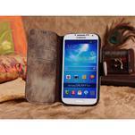 Peněženkové pouzdro z pravé kůže na Samsung Galaxy S4 - hnědá I - 4/6