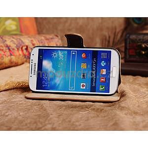 Peněženkové pouzdro z pravé kůže na Samsung Galaxy S4 - khaki - 4