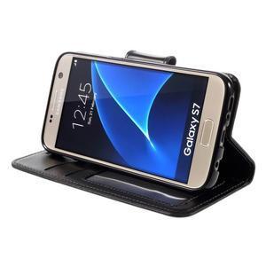 Rich PU kožené peněženkové pouzdro na Samsung Galaxy S7 - černé - 4
