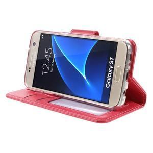 Rich PU kožené peňaženkové puzdro pre Samsung Galaxy S7 - rose - 4