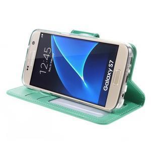Rich PU kožené peňaženkové puzdro pre Samsung Galaxy S7 - azúrové - 4