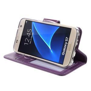 Rich PU kožené peňaženkové puzdro pre Samsung Galaxy S7 - fialové - 4