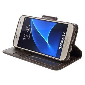 Rich PU kožené peněženkové pouzdro na Samsung Galaxy S7 - coffee - 4