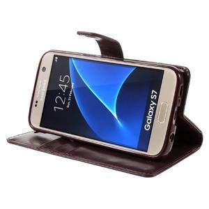 Moon PU kožené puzdro pre mobil Samsung Galaxy S7 - tmavočervené - 4