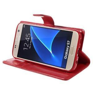 Moon PU kožené puzdro pre mobil Samsung Galaxy S7 - červené - 4