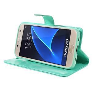 Moon PU kožené puzdro pre mobil Samsung Galaxy S7 - azurové - 4