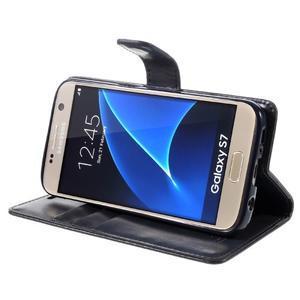 Moon PU kožené puzdro pre mobil Samsung Galaxy S7 - tmavomodré - 4