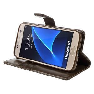 Moon PU kožené pouzdro na mobil Samsung Galaxy S7 - coffee - 4