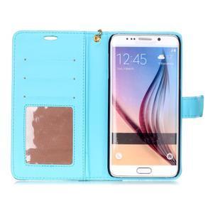 Croco styl peňaženkové puzdro pre Samsung Galaxy S7 - modré - 4