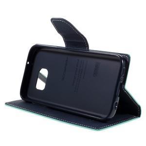 Goosper PU kožené pouzdro na Samsung Galaxy S7 - cyan - 4