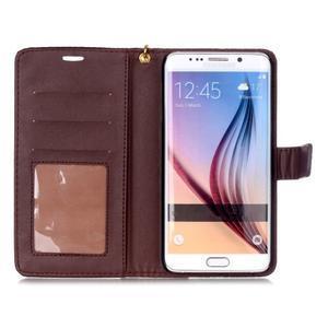 Croco styl peňaženkové puzdro pre Samsung Galaxy S7 - hnedé - 4