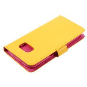 Luxury PU kožené puzdro pre Samsung Galaxy S7 - žlté - 4
