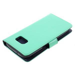 Luxury PU kožené puzdro pre Samsung Galaxy S7 - azúrové - 4