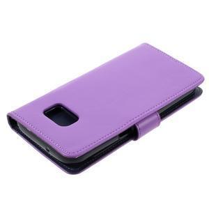 Luxury PU kožené puzdro pre Samsung Galaxy S7 - fialové - 4