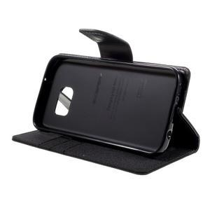 Canvas PU kožené/textilní puzdro pre Samsung Galaxy S7 - čierne - 4