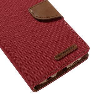Canvas PU kožené/textilní puzdro pre Samsung Galaxy S7 - červené - 4