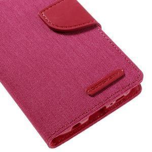 Canvas PU kožené/textilní puzdro pre Samsung Galaxy S7 - rose - 4