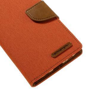 Canvas PU kožené/textilní puzdro pre Samsung Galaxy S7 - oranžové - 4