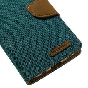 Canvas PU kožené/textilní puzdro pre Samsung Galaxy S7 - zelené - 4