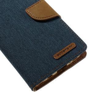 Canvas PU kožené/textilní puzdro pre Samsung Galaxy S7 - modré - 4