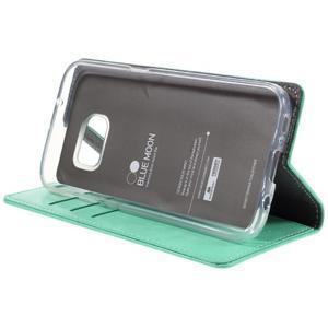 Bluemoon PU kožené pouzdro na mobil Samsung Galaxy S7 - cyan - 4