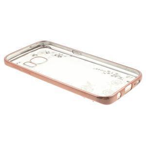 Nice gelový obal s kamínky na Samsung Galaxy S7 - bílé květiny - 4