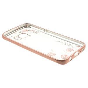 Nice gélový obal s kamínky pre Samsung Galaxy S7 - ružové kvetiny - 4