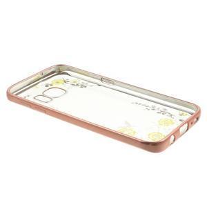 Nice gélový obal s kamínky pre Samsung Galaxy S7 - žlté kvetiny - 4