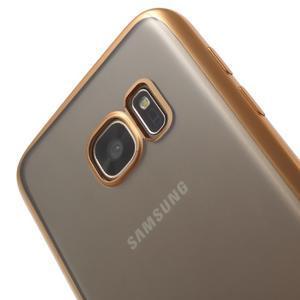 Gelový obal se zlatým rámom pre Samsung Galaxy S7 - 4
