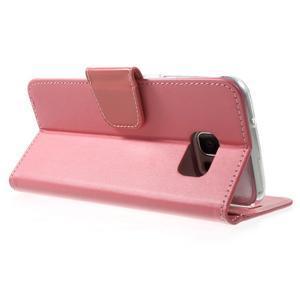 Rich PU kožené puzdro pre Samsung Galaxy S7 edge - ružové - 4