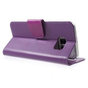 Rich PU kožené pouzdro na Samsung Galaxy S7 edge - fialové - 4