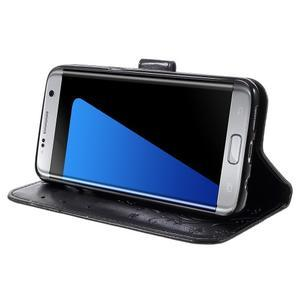 Butterfly PU kožené pouzdro na Samsung Galaxy S7 edge - černé - 4