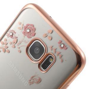 Nice gélový obal s kamienkami pre Samsung Galaxy S7 edge - ružové kvety - 4