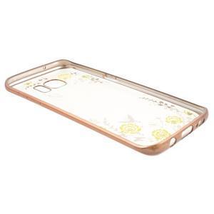 Nice gélový obal s kamienkami pre Samsung Galaxy S7 edge - žlté kvety - 4