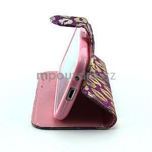 Pusinky peňaženkové puzdro pre Samsung Galaxy S4 Mini - fialové - 4