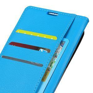 Litchi PU kožené púzdro na Sony Xperia L2 - modré - 4